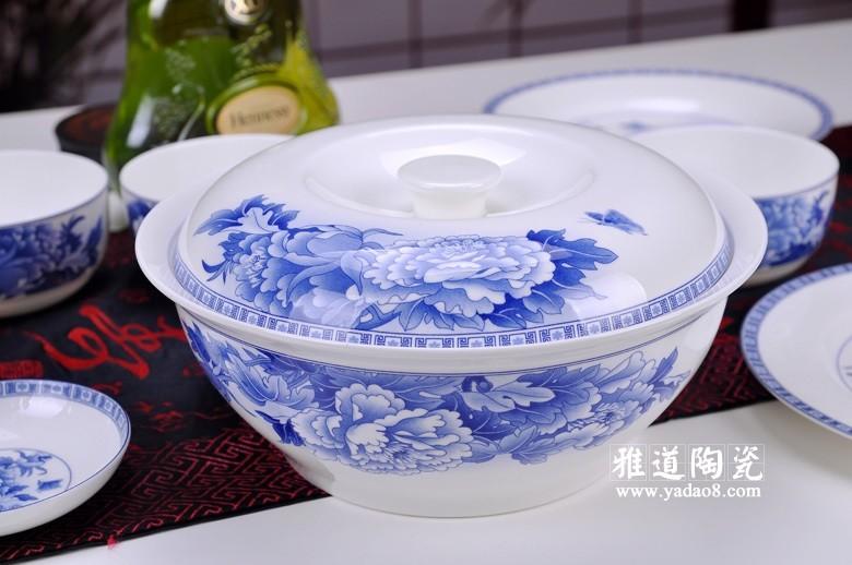 富贵吉祥青花瓷器餐具(平锅)