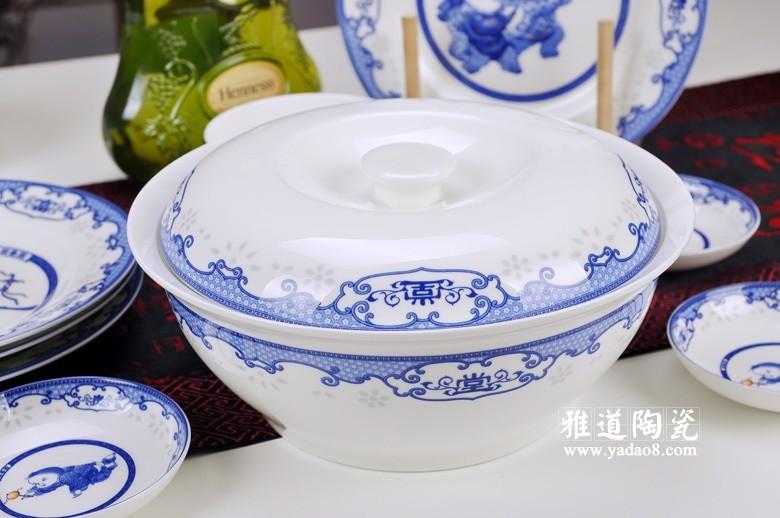 富贵满堂青花瓷陶瓷餐具(平锅)