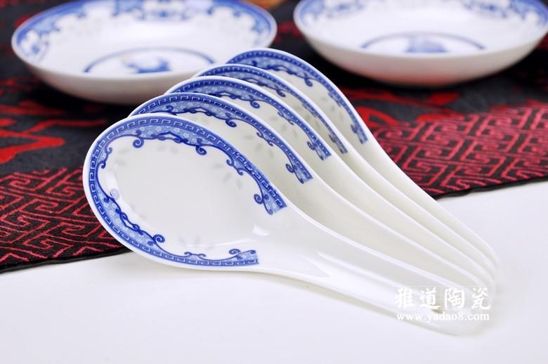 富贵满堂青花瓷陶瓷餐具(勺子)