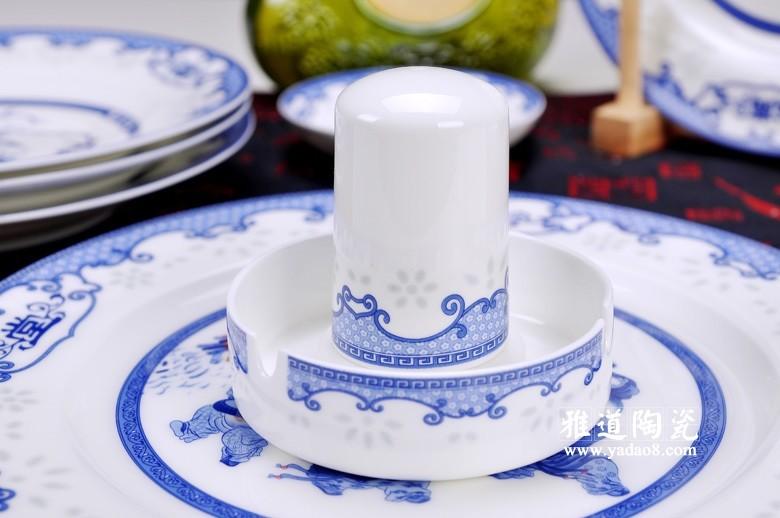 富贵满堂青花瓷陶瓷餐具(牙签筒)