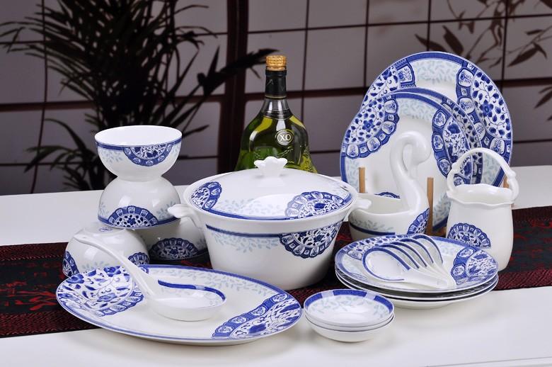 古韵青花骨瓷餐具