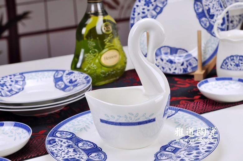 古韵青花骨瓷餐具(天鹅)