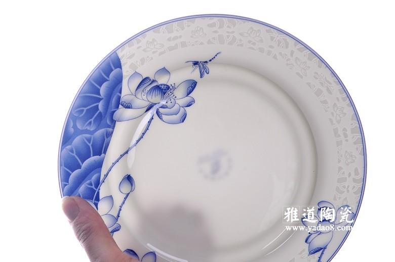 荷塘清韵青花餐具-透光图