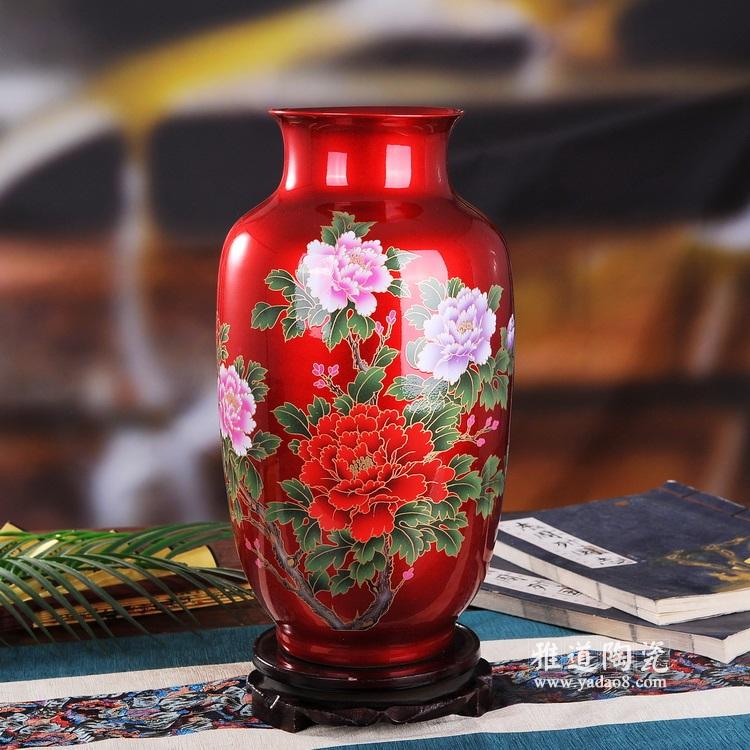 中国红水晶釉花开富贵陶瓷冬瓜瓶