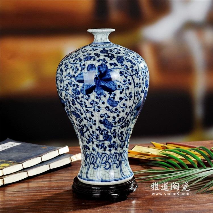 手绘釉下彩仿古官窑青花瓷花瓶