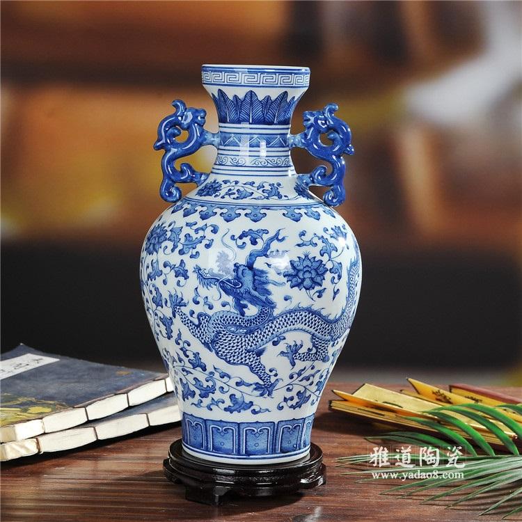 景德镇青花瓷花瓶仿古摆件