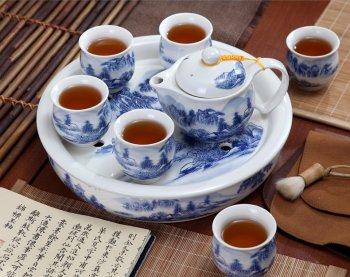 青花山水陶瓷茶具套装
