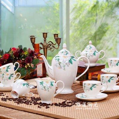 景德镇陶瓷15头欧式咖啡具套装百合