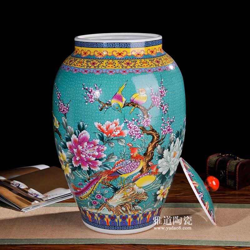 50斤珐琅彩富贵花鸟陶瓷米缸