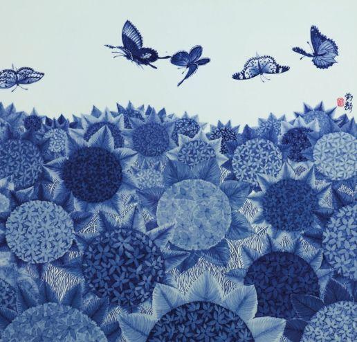 青花瓷绣球花的现代装饰艺术