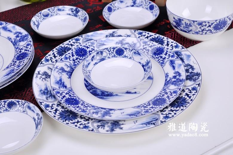 景德镇陶瓷餐具套装开光山水56头餐具
