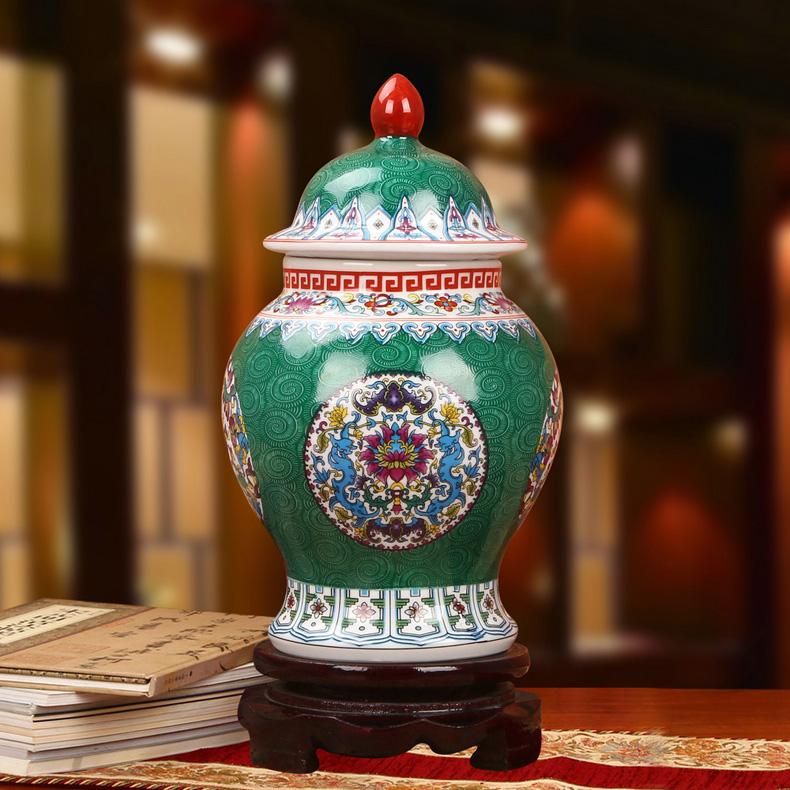 景德镇陶瓷珐琅彩将军罐工艺品摆件(绿色款)