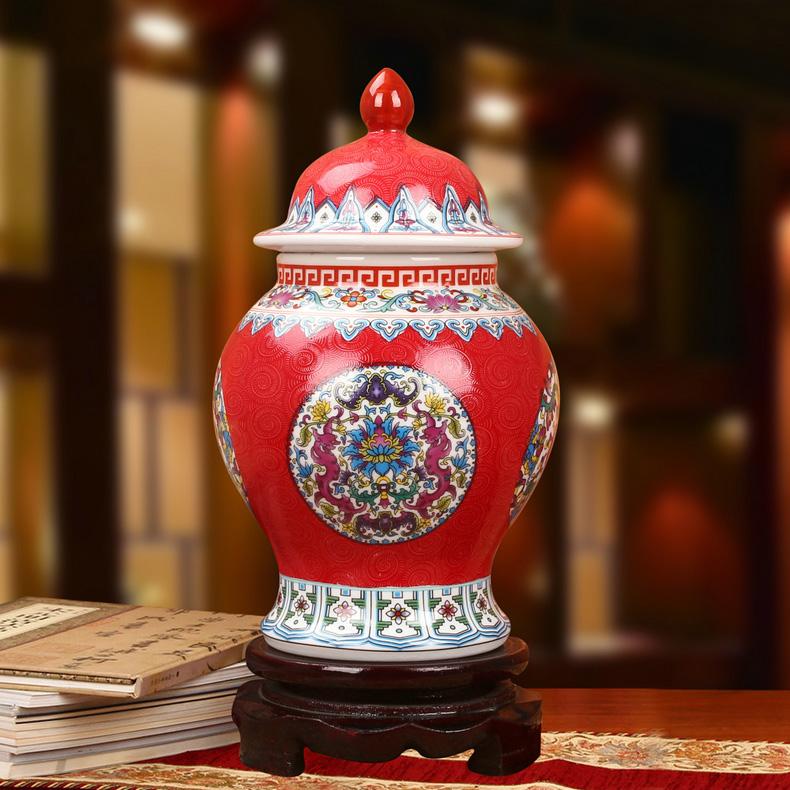 景德镇陶瓷珐琅彩将军罐工艺品摆件(红色款)