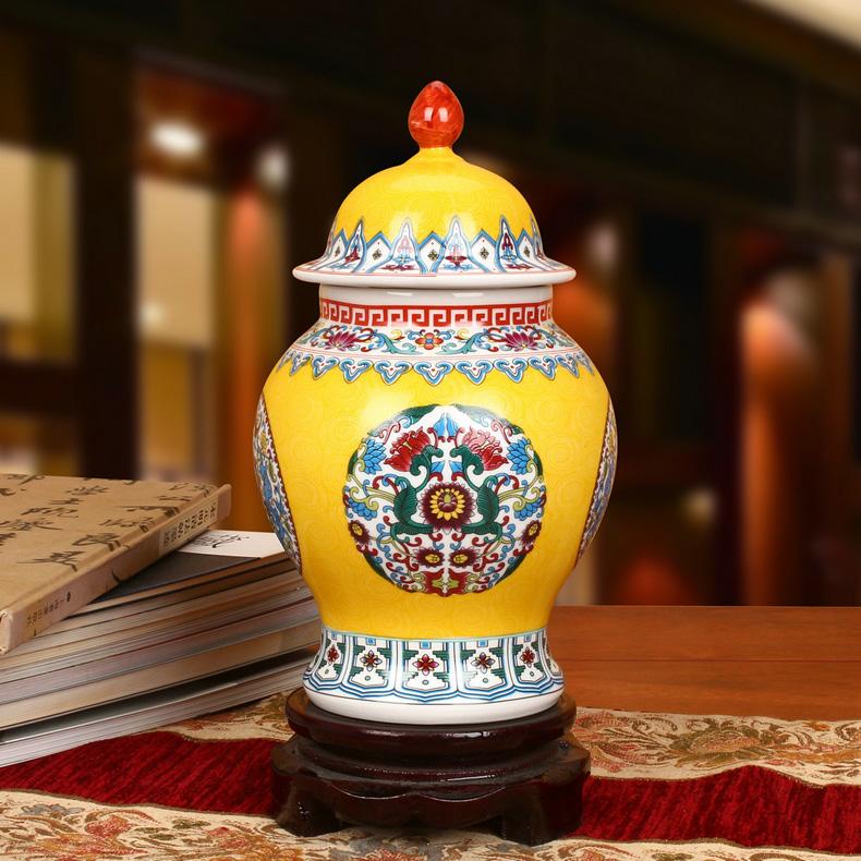 景德镇陶瓷珐琅彩将军罐工艺品摆件(黄色款)