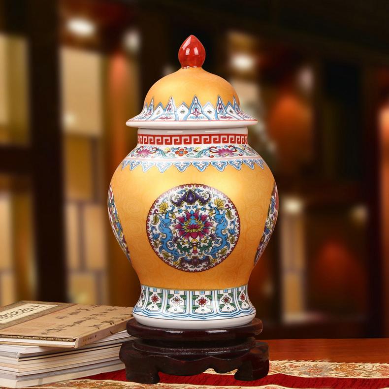 景德镇陶瓷珐琅彩将军罐工艺品摆件(金色款)