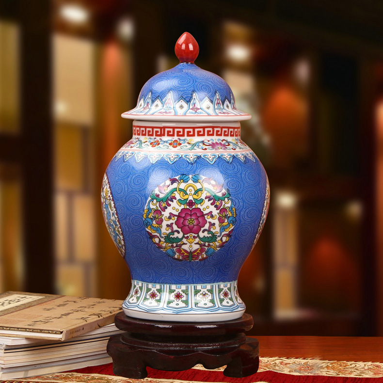 景德镇陶瓷珐琅彩将军罐工艺品摆件(蓝色款)