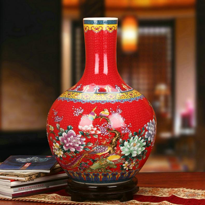 景德镇陶瓷仿古珐琅彩牡丹凤凰天球瓶(红色)