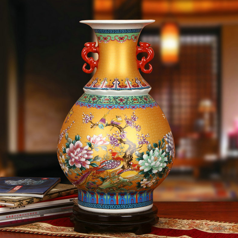 景德镇陶瓷珐琅彩双耳玉壶春瓶工艺品