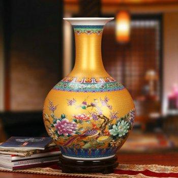 景德镇瓷器珐琅彩赏瓶工艺品花瓶摆设