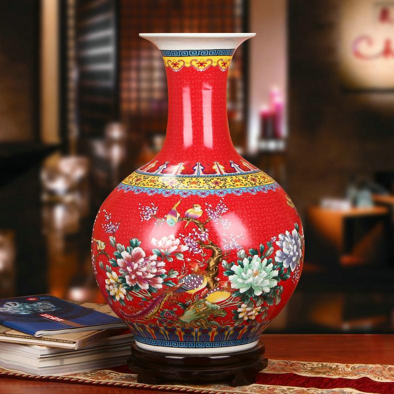景德镇瓷器珐琅彩室内装饰花瓶