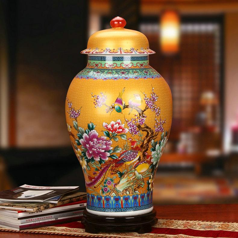 景德镇金色牡丹珐琅彩陶瓷将军罐工艺品花瓶金色款