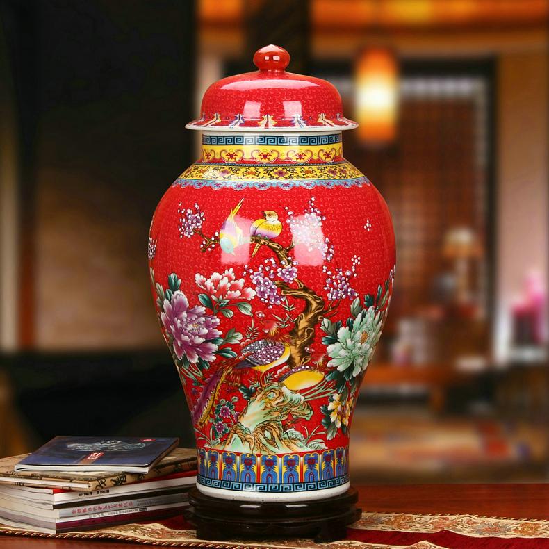 景德镇金色牡丹珐琅彩陶瓷将军罐工艺品花瓶红色款