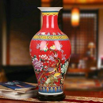 景德镇陶瓷珐琅彩观音瓶家居工艺品