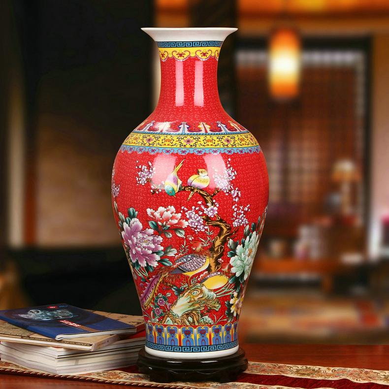 景德镇陶瓷珐琅彩观音瓶家居工艺品红色款