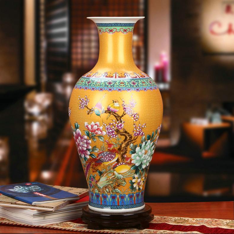 景德镇陶瓷珐琅彩观音瓶家居工艺品金色款