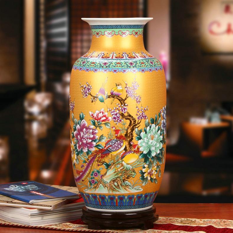 景德镇陶瓷珐琅彩牡丹凤凰冬瓜瓶工艺品金色款