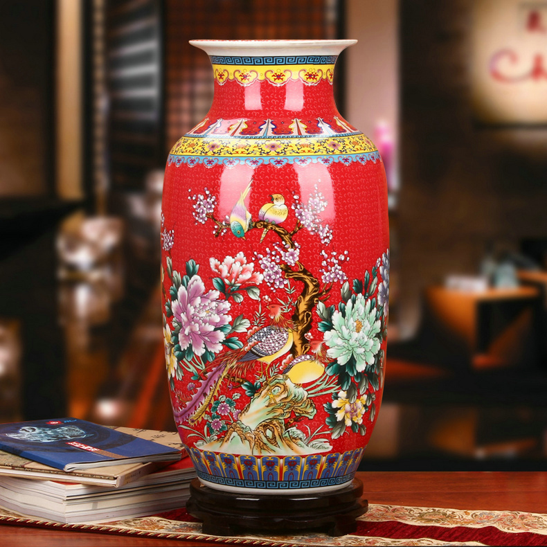 景德镇陶瓷珐琅彩牡丹凤凰冬瓜瓶工艺品红色款