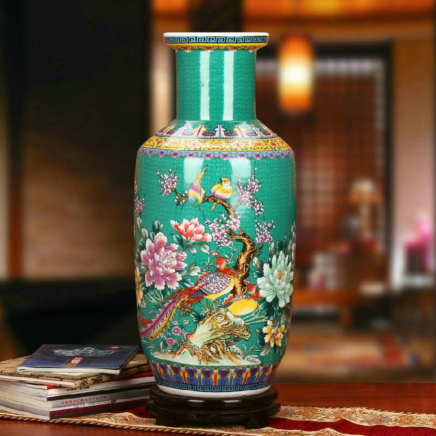 景德镇瓷器绿色珐琅彩棒槌瓶工艺品摆件绿色款