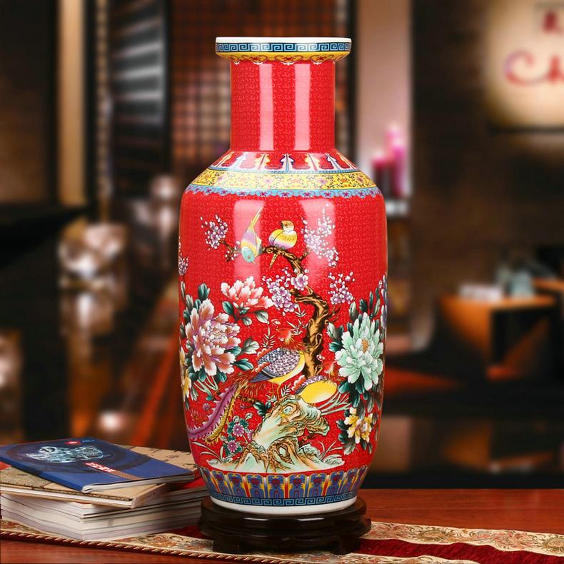 景德镇瓷器绿色珐琅彩棒槌瓶工艺品摆件红色款