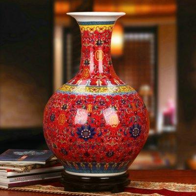 景德镇瓷器珐琅彩红色福寿赏瓶工艺品摆设