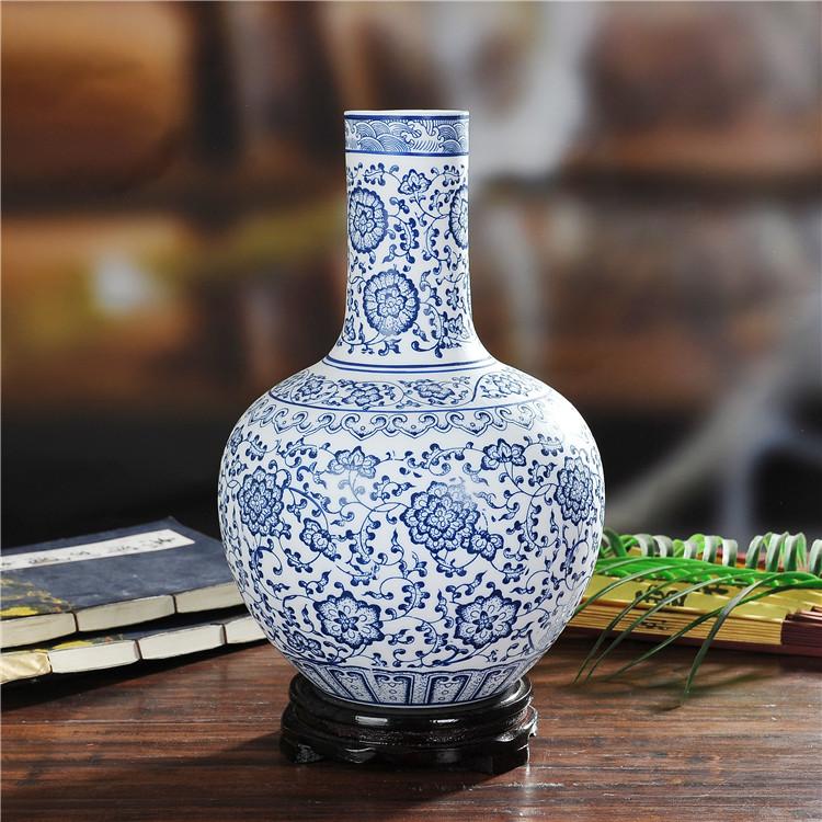 景德镇陶瓷哑光青花瓷花瓶