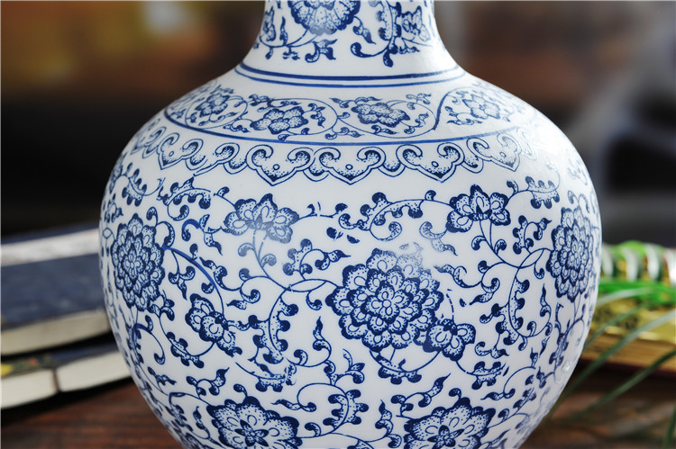 景德镇陶瓷哑光青花瓷花瓶家居陶瓷工艺品