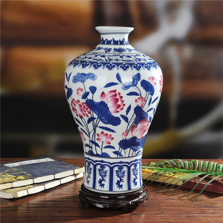 景德镇陶瓷手工仿古青花釉里红陶瓷花瓶