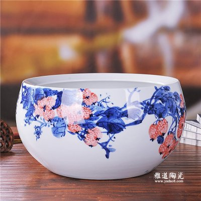 景德镇陶瓷鱼缸手绘釉下彩硕果陶瓷摆件