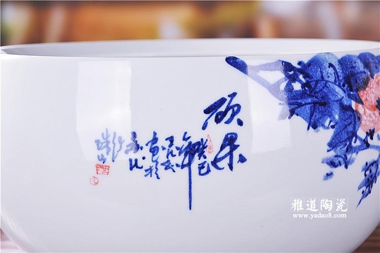 景德镇陶瓷鱼缸大师手绘釉下彩硕果陶瓷摆件