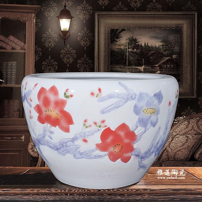 景德镇陶瓷水缸雕刻养鱼缸家居摆设