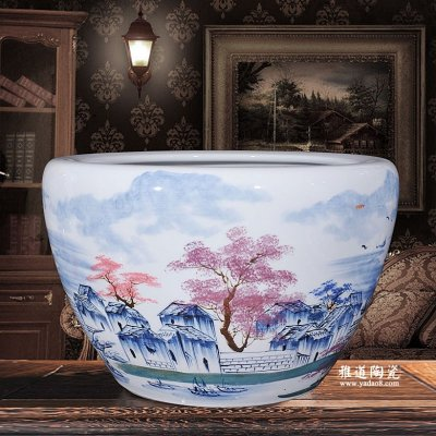 景德镇陶瓷鱼缸手高档水缸荷花缸乡情