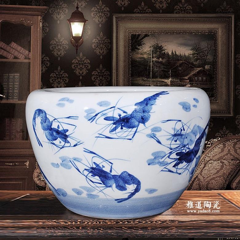 陶瓷金鱼缸景德镇手绘青花陶瓷大缸虾趣