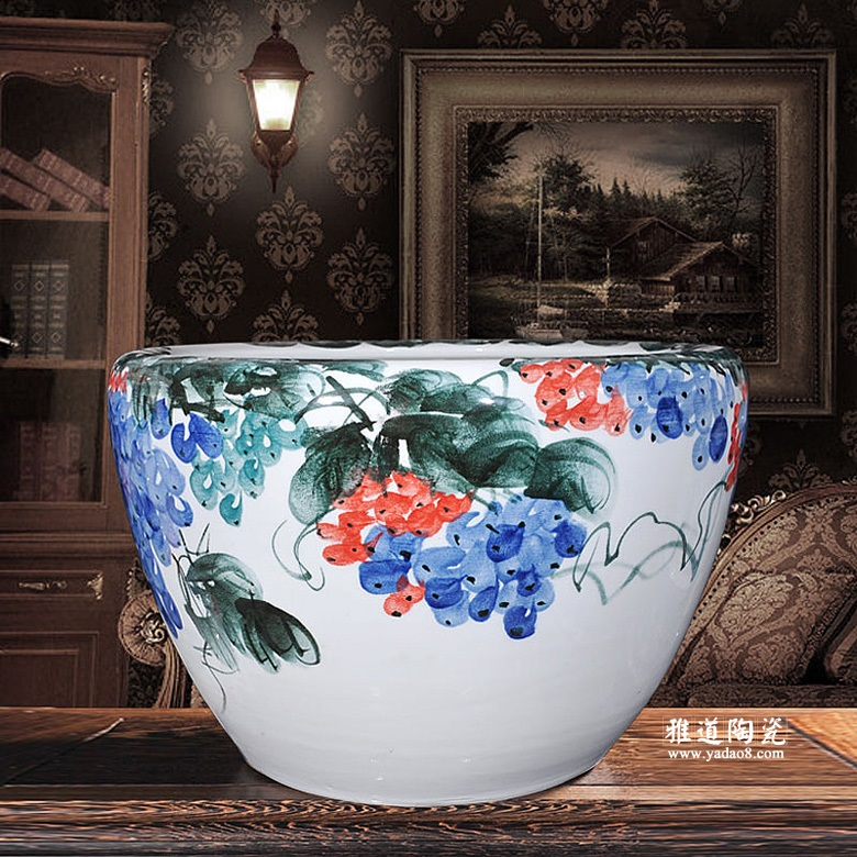 手绘大鱼缸睡莲碗莲乌龟金鱼缸陶瓷大缸