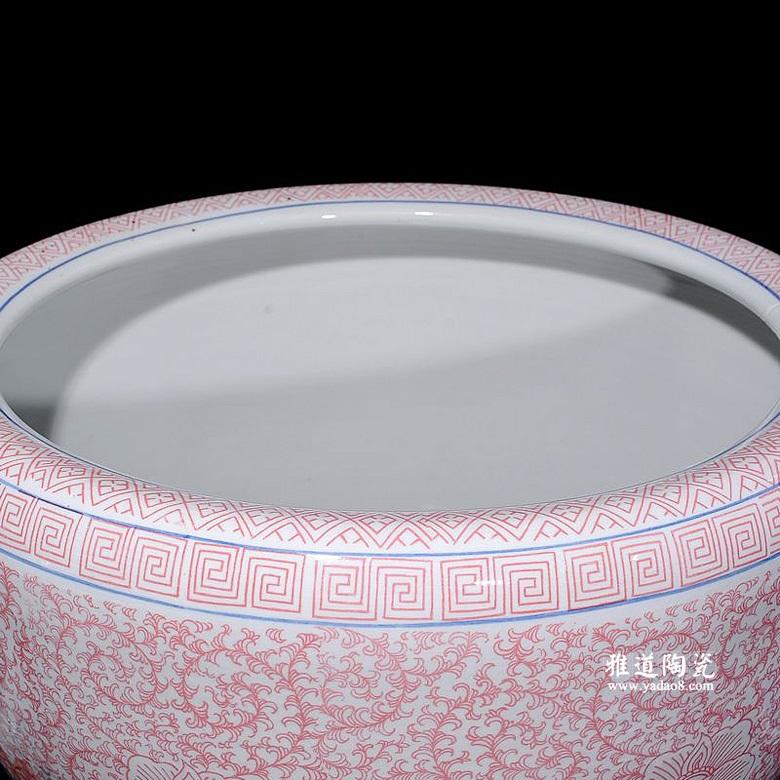 陶瓷荷花缸景德镇陶瓷鱼缸睡莲盆
