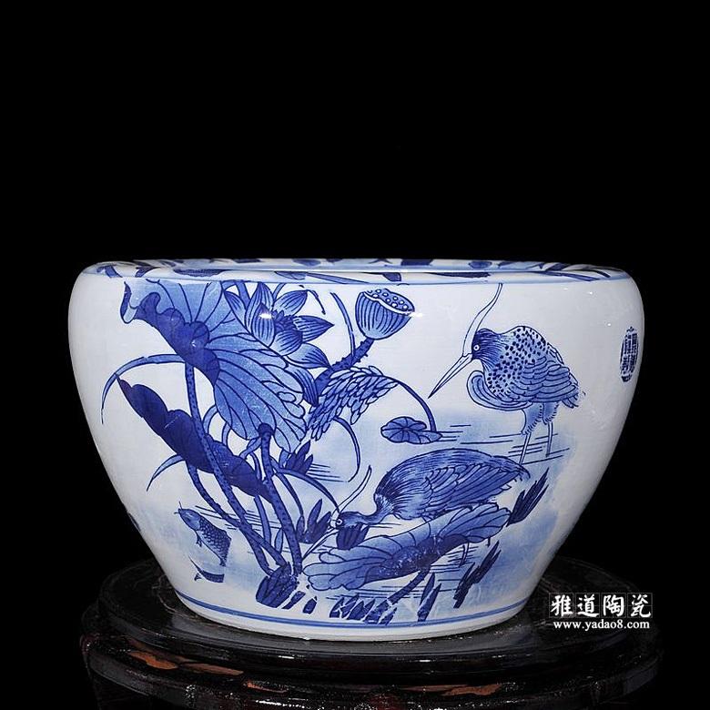 景德镇陶瓷鱼缸家居摆件鸳鸯戏水
