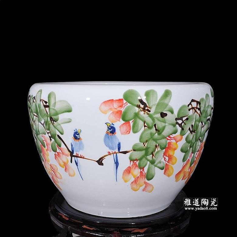 陶瓷锦鲤缸景德镇手绘养鱼缸荷花缸满春