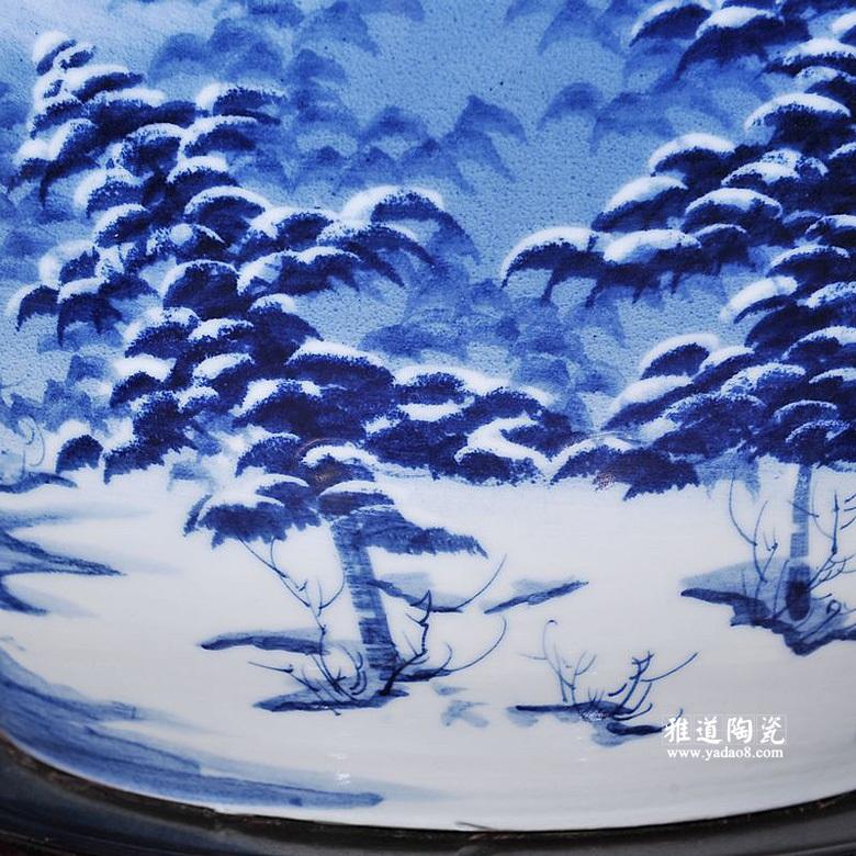 锦鲤陶瓷缸手绘雪景鱼缸荷花缸