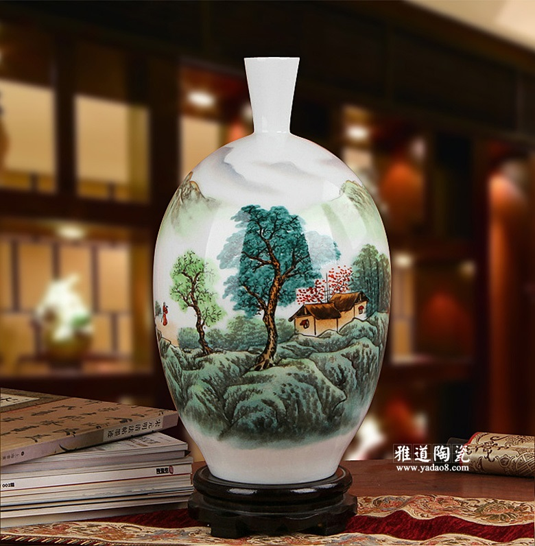 景德镇陶瓷名家手绘客厅装饰花瓶