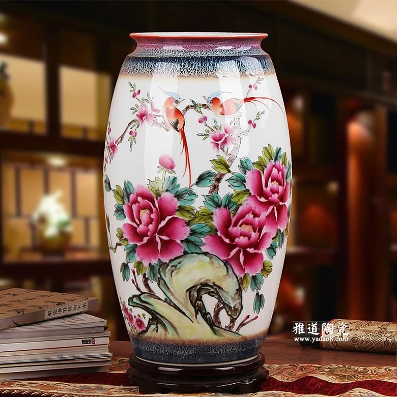 景德镇夏国安手绘陶瓷花瓶客厅摆件