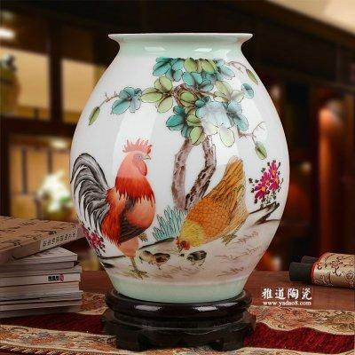 艺术花瓶-景德镇陶瓷名家手绘花瓶全家福